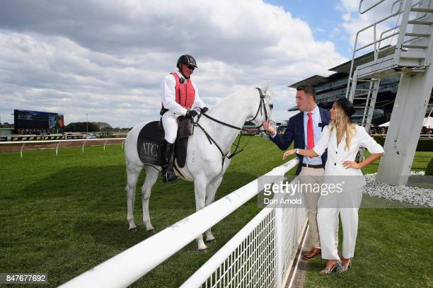 Sam Burgess and Phoebe Burgess attend Colgate Optic White Stakes Day at Royal Randwick Racecourse on September 16 2017 in Sydney Australia