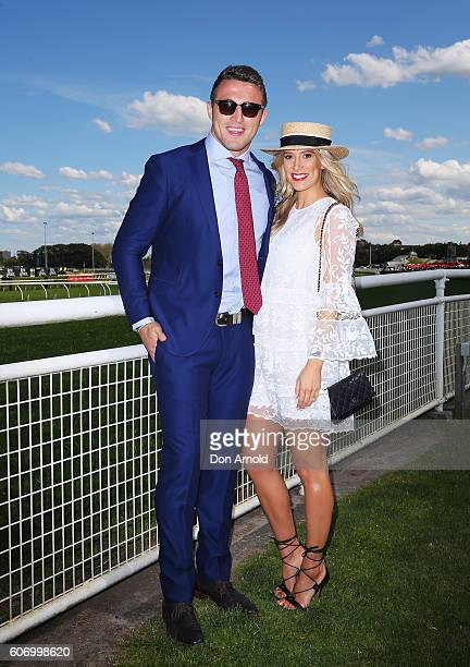 Sam Burgess and Phoebe Burgess attend Stakes Day at Royal Randwick Racecourse on September 17 2016 in Sydney Australia