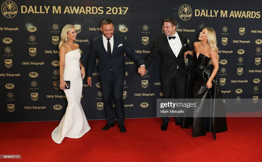 Sam Burgess and Phoebe Burgess laugh with Jared Waerea-Hargreaves and Chelsea Waerea-Hargreave ahead of the 2017 Dally M Awards at The Star on September 27, 2017 in Sydney, Australia.