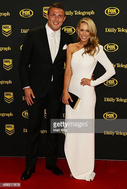 Sam Burgess and Phoebe Hooke arrive at the Dally M Awards at Star City on September 29 2014 in Sydney Australia