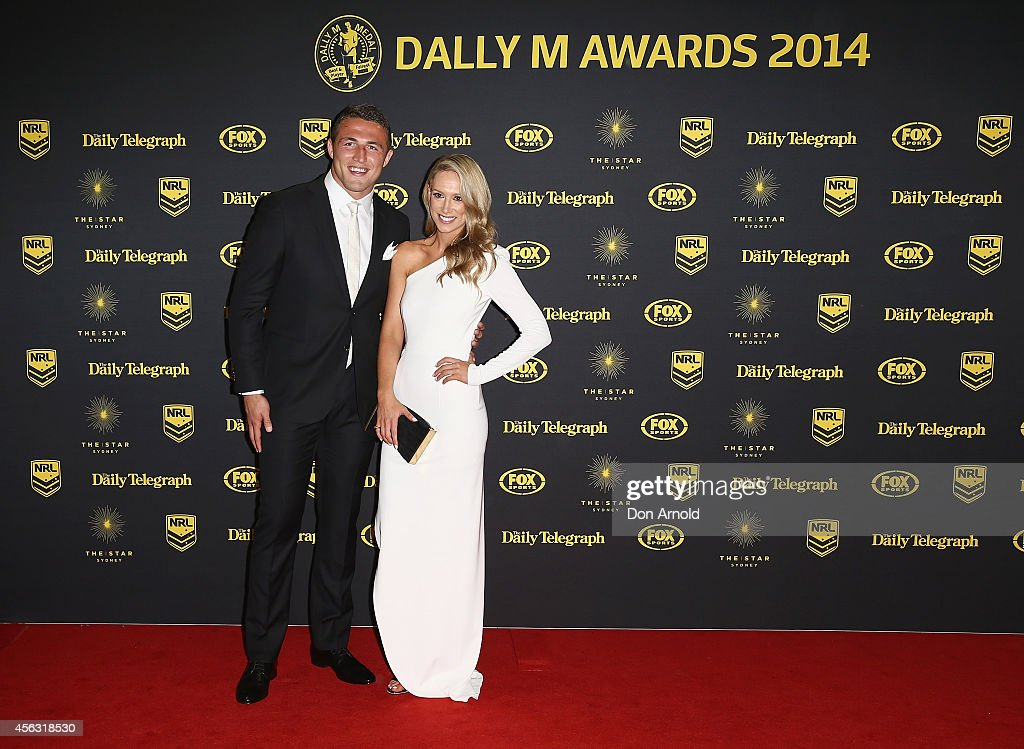 Sam Burgess and Phoebe Hooke arrive at the Dally M Awards at Star City on September 29, 2014 in Sydney, Australia.