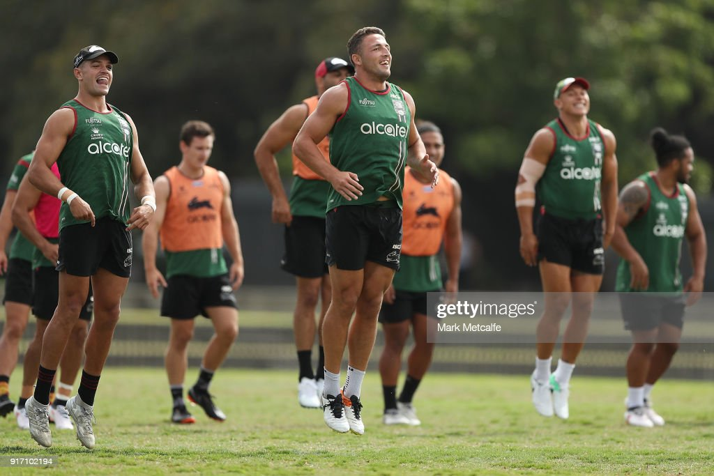 Sam Burgess and team mates warm up during a South Sydney Rabbitohs NRL training session at Redfern Oval on February 12, 2018 in Sydney, Australia.