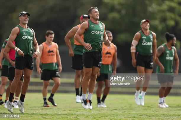 Sam Burgess and team mates warm up during a South Sydney Rabbitohs NRL training session at Redfern Oval on February 12 2018 in Sydney Australia