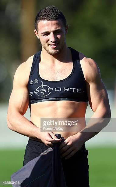 Sam Burgess arrives at a South Sydney Rabbitohs NRL training session at Redfern Oval on June 4 2014 in Sydney Australia