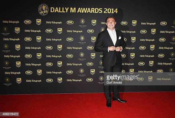 Sam Burgess arrives at the Dally M Awards at Star City on September 29 2014 in Sydney Australia