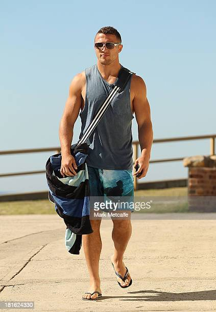 Sam Burgess arrives for a South Sydney Rabbitohs NRL recovery session at Clovelly Beach on September 23 2013 in Sydney Australia