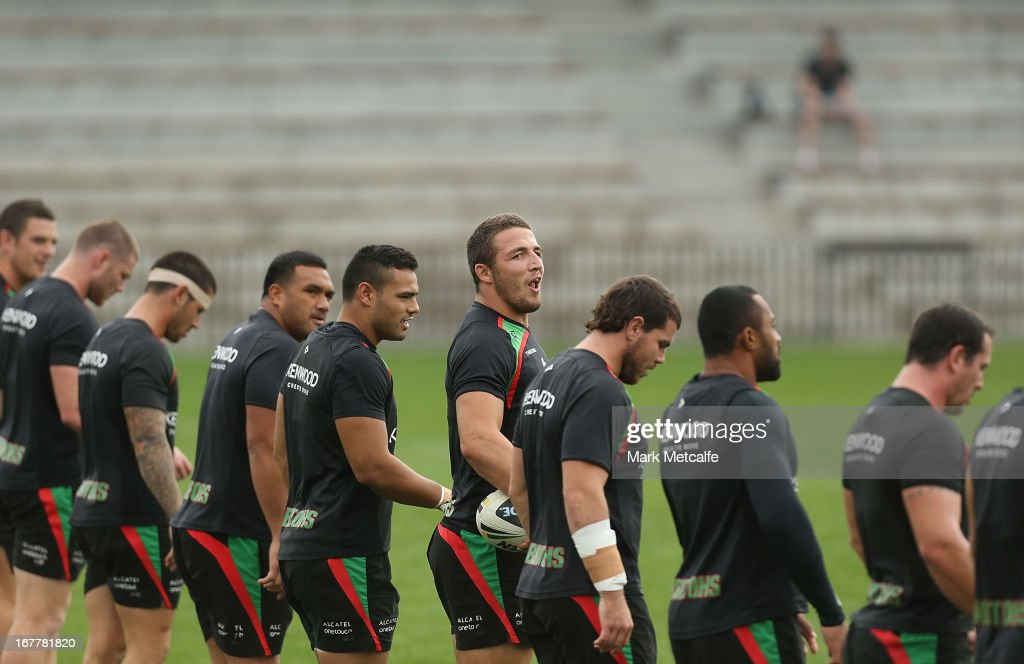 Sam Burgess calls out during a South Sydney Rabbitohs NRL training session at Redfern Oval on April 30, 2013 in Sydney, Australia.