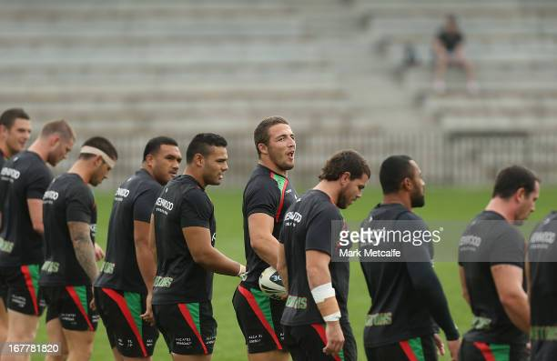 Sam Burgess calls out during a South Sydney Rabbitohs NRL training session at Redfern Oval on April 30 2013 in Sydney Australia