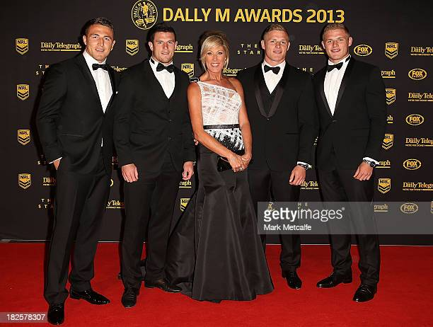 Sam Burgess Luke Burgess Julie Burgess George Burgess and Thomas Burgess arrive ahead of the 2013 Dally M Awards at Star City on October 1 2013 in...