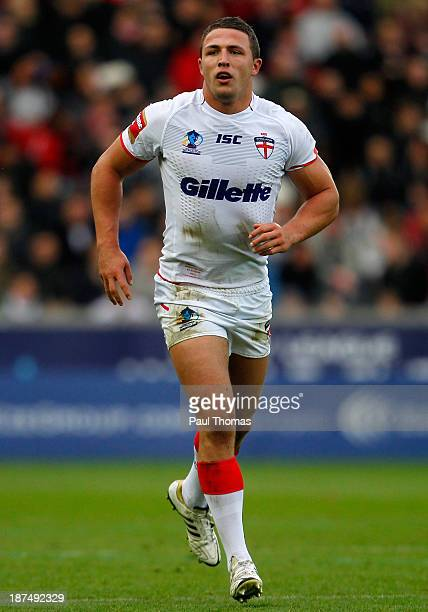 Sam Burgess of England in action during the Rugby League World Cup Group A match at the KC Stadium on November 9 2013 in Hull England