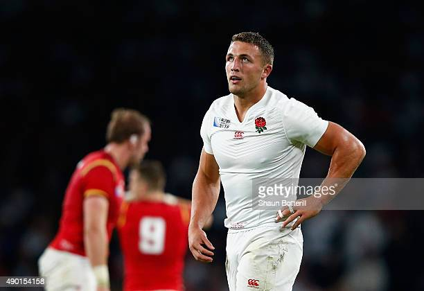 Sam Burgess of England looks thoughtful during the 2015 Rugby World Cup Pool A match between England and Wales at Twickenham Stadium on September 26...