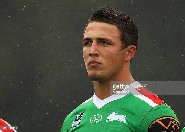 Sam Burgess of Rabbitohs waits for kickoff during the NRL trial match between South Sydney Rabbitohs and Manly Sea Eagles at Redfern Oval on February...