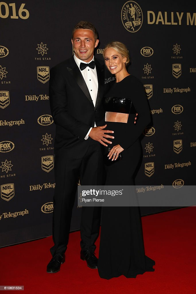 Sam Burgess of the Rabbitohs and partner Phoebe Hooke arrive at the 2016 Dally M Awards at Star City on September 28, 2016 in Sydney, Australia.