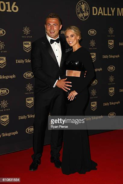 Sam Burgess of the Rabbitohs and partner Phoebe Hooke arrive at the 2016 Dally M Awards at Star City on September 28 2016 in Sydney Australia