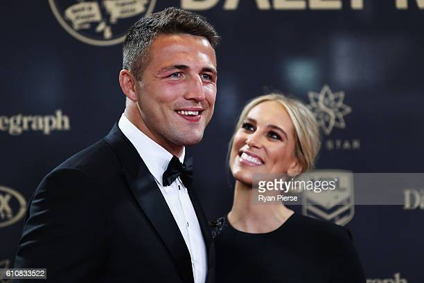 Sam Burgess of the Rabbitohs and wife Phoebe Burgess arrive at the 2016 Dally M Awards at Star City on September 28 2016 in Sydney Australia