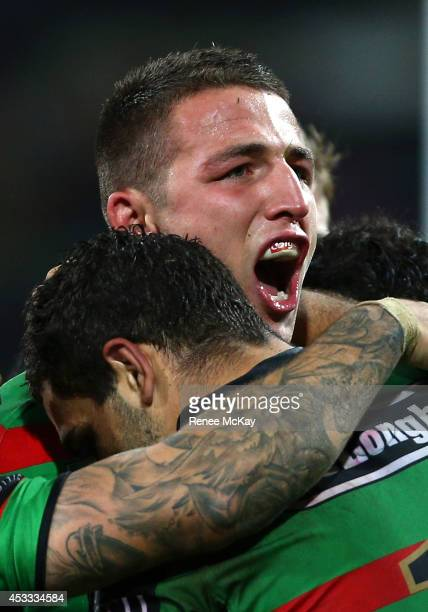 Sam Burgess of the Rabbitohs celebrates his try during the round 22 AFL match between the South Sydney Rabbitohs and the Manly Sea Eagles at Sydney...