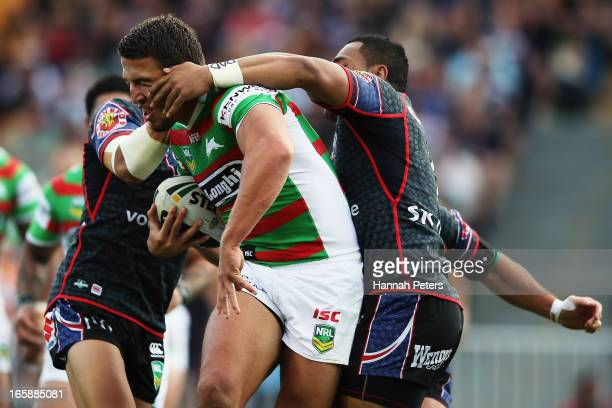 Sam Burgess of the Rabbitohs charges forward during the round 5 NRL match between the New Zealand Warriors and the South Sydney Rabbitohs at Mt Smart...