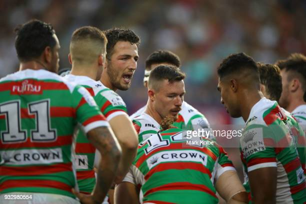 Sam Burgess of the Rabbitohs gives instructions to his team mates during the round two NRL match between the Penrith Panthers and the South Sydney...