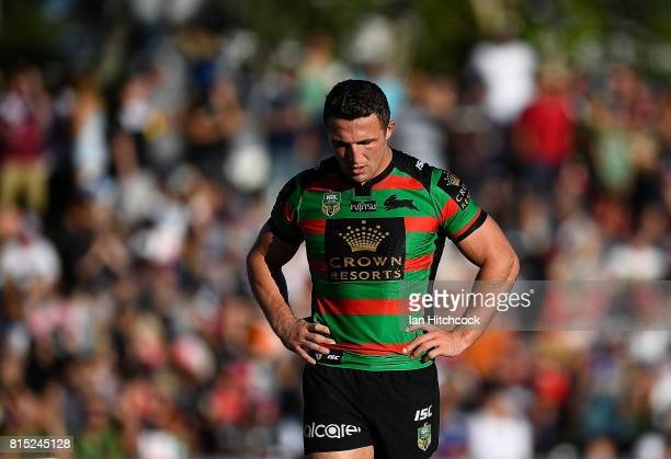 Sam Burgess of the Rabbitohs looks dejected after a Cowboys try during the round 19 NRL match between the South Sydney Rabbitohs and the North...