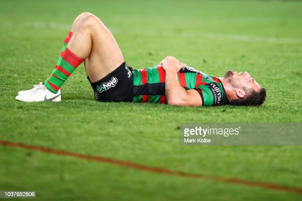 Sam Burgess of the Rabbitohs looks dejected after defeat during the NRL Preliminary Final match between the Sydney Roosters and the South Sydney...