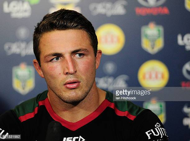Sam Burgess of the Rabbitohs looks on at the post match media conference at the end of during the round seven NRL match between the North Queensland...