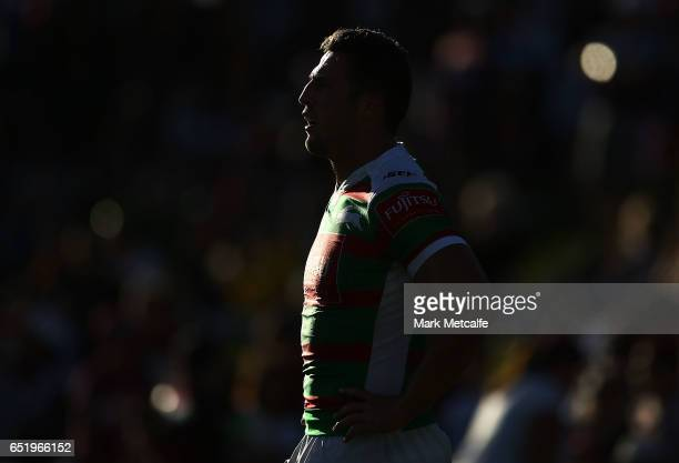 Sam Burgess of the Rabbitohs looks on during the round two NRL match between the Manly Sea Eagles and the South Sydney Rabbitohs at Lottoland on...