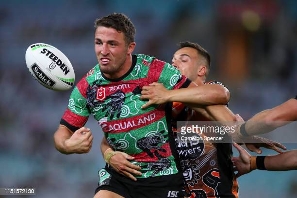 Sam Burgess of the Rabbitohs loses the ball in a tackle during the round 11 NRL match between the South Sydney Rabbitohs and the Wests Tigers at ANZ...