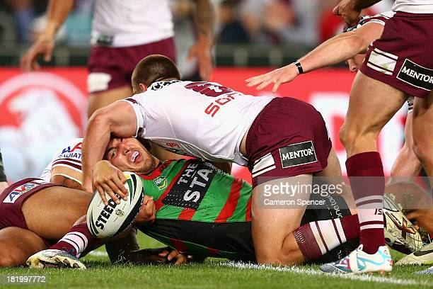 Sam Burgess of the Rabbitohs loses the ball over the tryline during the NRL Preliminary Final match between the South Sydney Rabbitohs and the Manly...
