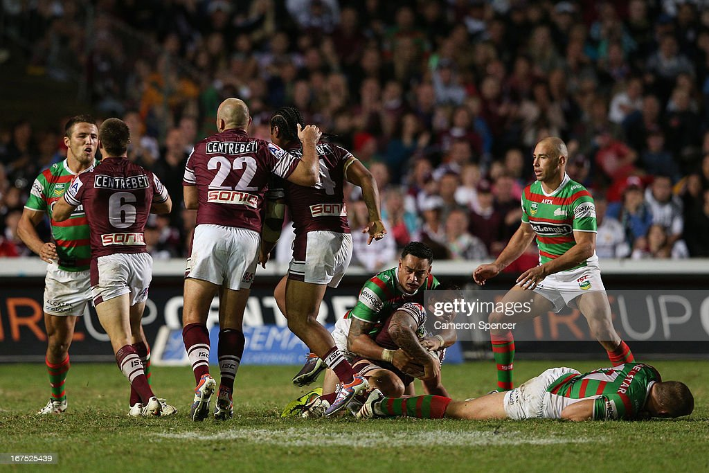 Sam Burgess of the Rabbitohs reacts after his brother and team mate, George Burgess was tackled high by Steve Matai of the Sea Eagles during the round seven NRL match between the Manly Sea Eagles and the South Sydney Rabbitohs at Brookvale Oval on April 26, 2013 in Sydney, Australia.