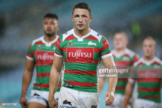 Sam Burgess of the Rabbitohs walks from the field after defeat in the round one NRL match between the South Sydney Rabbitohs and the Wests Tigers at...