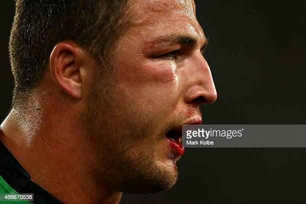 Sam Burgess of the Rabbitohs walks off the field at half time during the 2014 NRL Grand Final match between the South Sydney Rabbitohs and the...