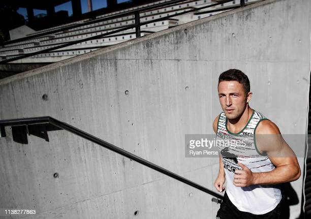 Sam Burgess of the Rabbitohs walks onto the field during a South Sydney Rabbitohs NRL training session at Redfern Oval on March 26 2019 in Sydney...