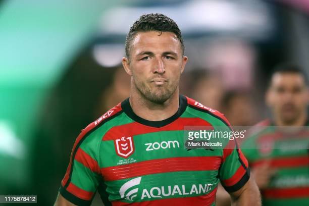 Sam Burgess of the Rabbitohs walks onto the field during the NRL Semi Final match between the South Sydney Rabbitohs and the Manly Sea Eagles at ANZ...