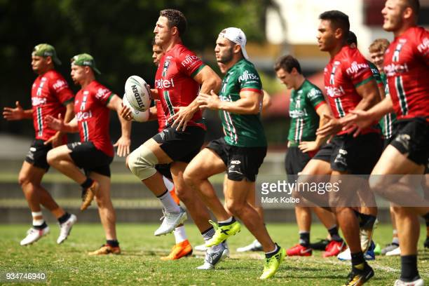 Sam Burgess runs during a South Sydney Rabbitohs NRL Training Session at Redfern Oval on March 20 2018 in Sydney Australia