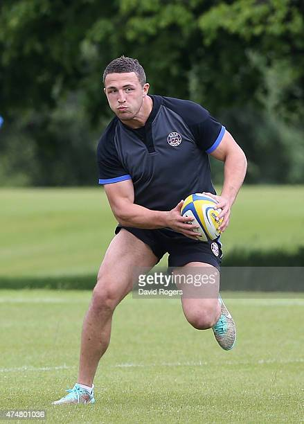 Sam Burgess runs with the ball during the training session held during the Bath media day held at Farleigh House at on May 26 2015 in Bath England