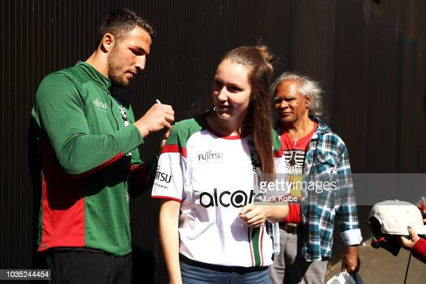 Sam Burgess signs autographs after speaking to the press during a South Sydney Rabbitohs NRL media opportunity at Redfern Oval on September 18 2018...