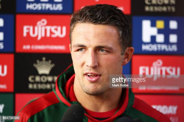 Sam Burgess speaks to the media before a South Sydney Rabbitohs NRL Training Session at Redfern Oval on March 20 2018 in Sydney Australia