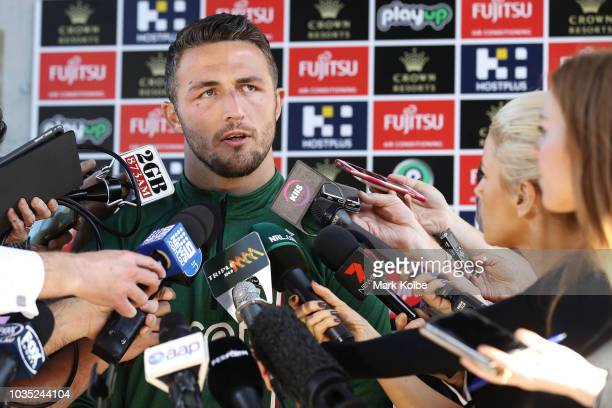 Sam Burgess speaks to the press during a South Sydney Rabbitohs NRL media opportunity at Redfern Oval on September 18 2018 in Sydney Australia