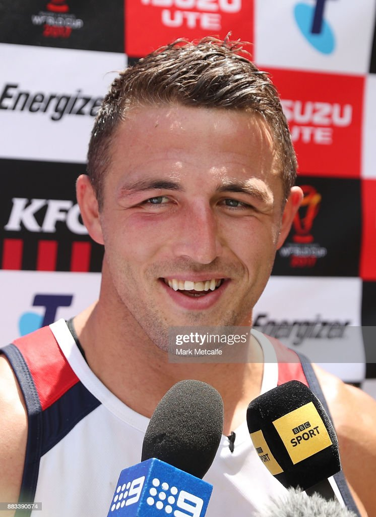 Sam Burgess talks to media during a England training session at Suncorp Stadium on December 1, 2017 in Brisbane, Australia.