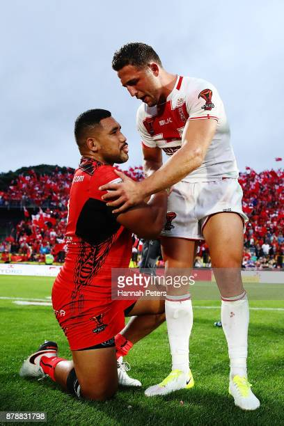 Sam Burgess thanks Silvia Havili of Tonga after winning the 2017 Rugby League World Cup Semi Final match between Tonga and England at Mt Smart...