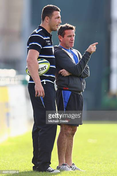 Sam Burgess the new signing for Bath Rugby in conversation with Head Coach Mike Ford during a Bath training session at the Recreation Ground on...