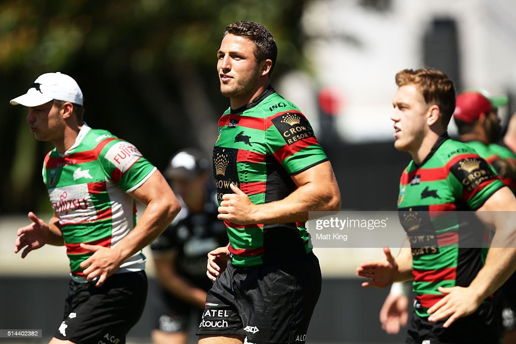Sam Burgess warms up during a South Sydney Rabbitohs NRL training session at Redfern Oval on March 9, 2016 in Sydney, Australia.