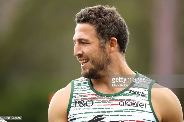 Sam Burgess watches on during a Sydney Rabbitohs training session at Redfern Oval at Redfern Oval on December 4 2018 in Sydney Australia