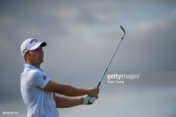 Sam Burns plays his shot from the 13th tee during the first round of the Webcom Tour's The Bahamas Great Exuma Classic at Sandals Emerald Bay Emerald...