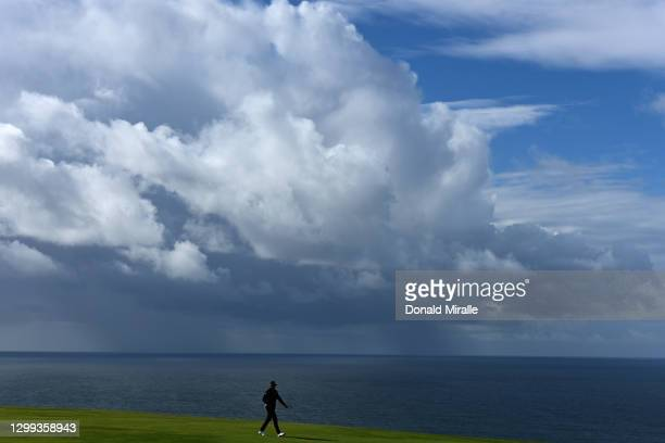 Sam Burns walks on the 4th hole fairway during round two of the Farmers Insurance Open at Torrey Pines on January 29, 2021 in San Diego, California.