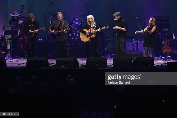 Sam Bush Herb Pedersen Emmylou Harris John Starling and Sara Watkins perform on stage during The Life Songs of Emmylou Harris An All Star Concert...