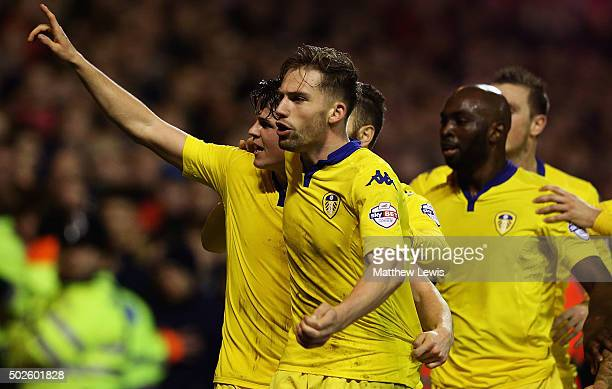 Sam Byram of Leeds United celebrates his goal during the Sky Bet Championship match between Nottingham Forest and Leeds United on December 27 2015 in...