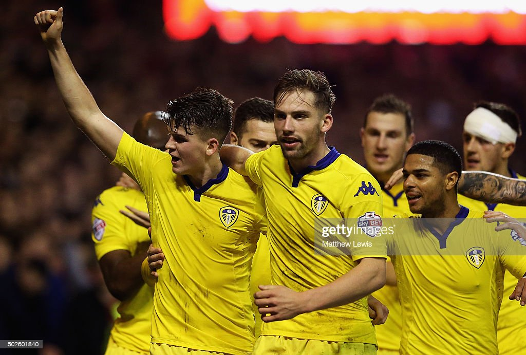 Sam Byram of Leeds United celebrates his goal during the Sky Bet Championship match between Nottingham Forest and Leeds United on December 27, 2015 in Nottingham, United Kingdom.