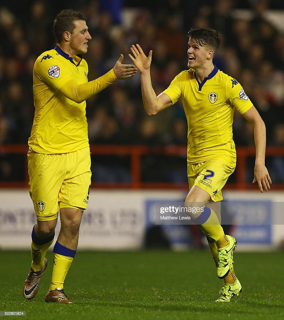 Sam Byram of Leeds United celebrates his goal with Chris Wood during the Sky Bet Championship match between Nottingham Forest and Leeds United on December 27, 2015 in Nottingham, United Kingdom.