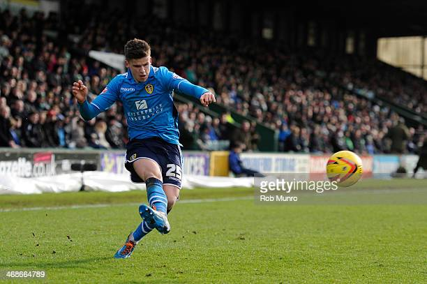 Sam Byram of Leeds United during the Sky Bet Championship match between Yeovil Town and Leeds United at Huish Park on February 08 2014 in Yeovil...